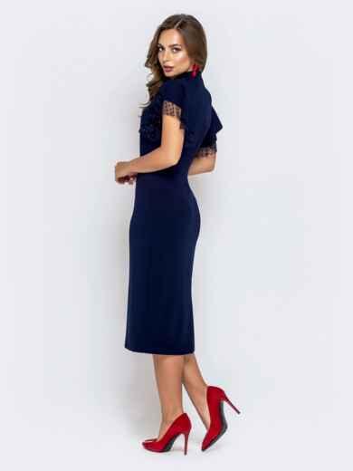 Синее платье-футляр с рюшами из фатина 40895, фото 3