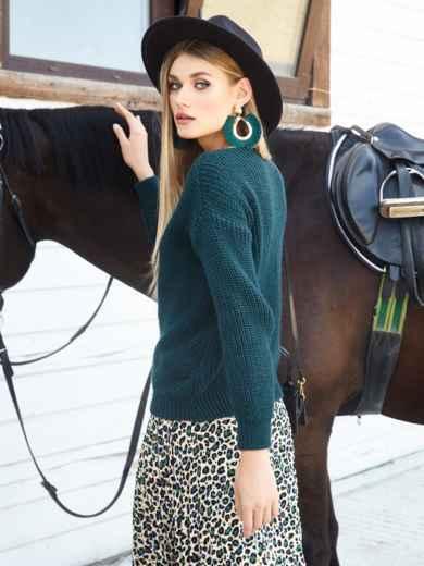 Зеленый свитер крупной вязки - 41146, фото 2 – интернет-магазин Dressa