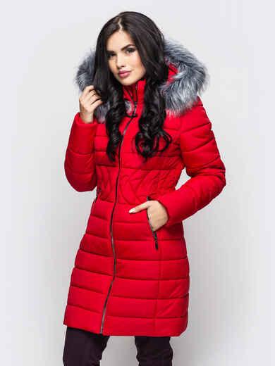 Зимняя куртка красного цвета с отстёгивающимся капюшоном - 15223, фото 1 – интернет-магазин Dressa
