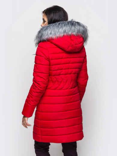 Зимняя куртка красного цвета с отстёгивающимся капюшоном - 15223, фото 2 – интернет-магазин Dressa