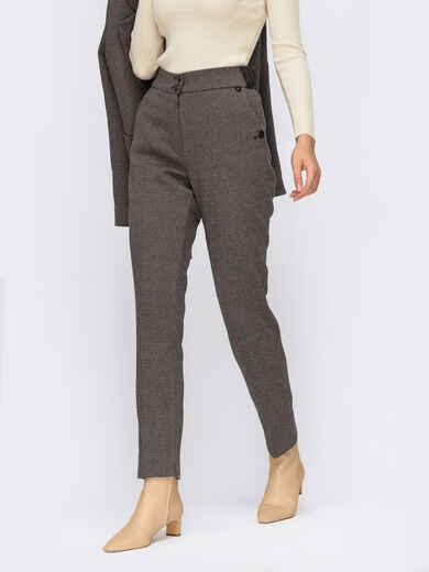 Базовые брюки серого цвета в мелкую полоску 55671, фото 1