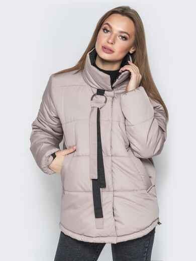 Бежевая куртка на кнопках и кольцом под горловиной - 20077, фото 1 – интернет-магазин Dressa