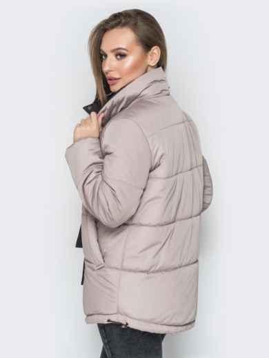 Бежевая куртка на кнопках и кольцом под горловиной - 20077, фото 3 – интернет-магазин Dressa