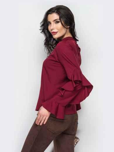 d1fd6bcb3ce Бордовая блузка с воланами на рукавах и имитацией чокера 12259 ...