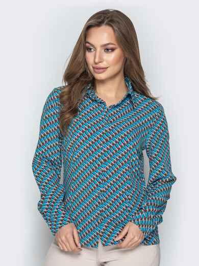 Классическая рубашка с принтом голубая - 20859, фото 1 – интернет-магазин Dressa