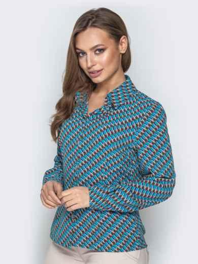 Классическая рубашка с принтом голубая - 20859, фото 2 – интернет-магазин Dressa
