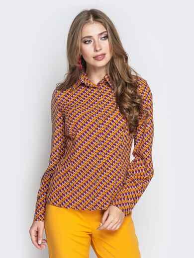 Классическая рубашка с принтом оранжевая 20858, фото 1