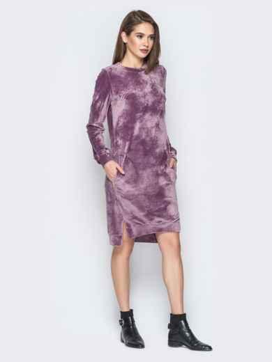 Розовое велюровое платье с карманами - 19510, фото 2 – интернет-магазин Dressa