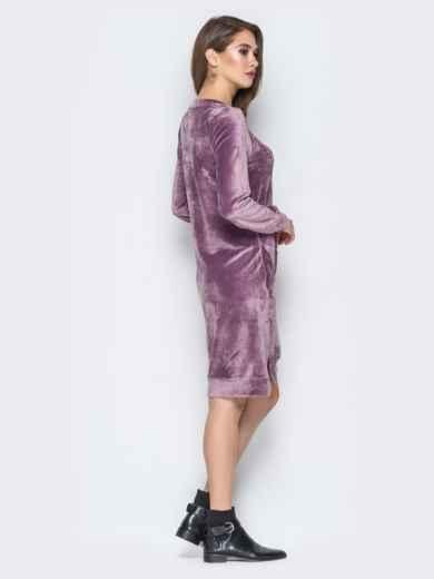 Розовое велюровое платье с карманами - 19510, фото 3 – интернет-магазин Dressa