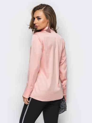 Шелковая розовая блузка с длинными рукавами - 12256, фото 2 – интернет-магазин Dressa