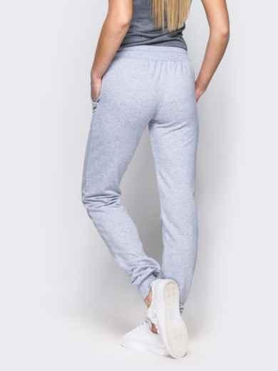0d997372ff3f Спортивные брюки с кулиской и резинкой на поясе светло-серые - 12138, фото 2
