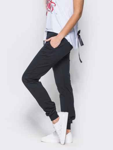 Спортивные брюки с кулиской и резинкой на поясе тёмно-синие - 12137, фото 2 – интернет-магазин Dressa