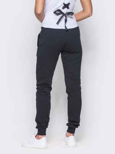 Спортивные брюки с кулиской и резинкой на поясе тёмно-синие - 12137, фото 3 – интернет-магазин Dressa