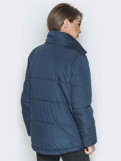 Тёмно-синяя куртка на кнопках и кольцом под горловиной - 20073, фото 2 – интернет-магазин Dressa