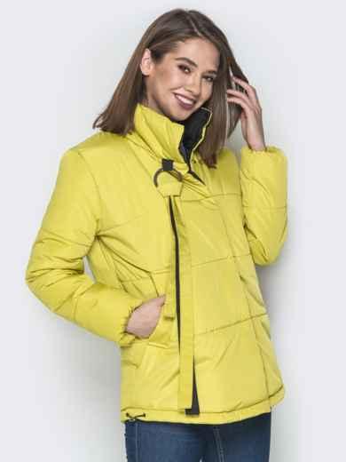 Желтая куртка на кнопках и кольцом под горловиной - 20075, фото 2 – интернет-магазин Dressa