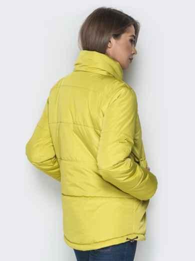Желтая куртка на кнопках и кольцом под горловиной - 20075, фото 3 – интернет-магазин Dressa