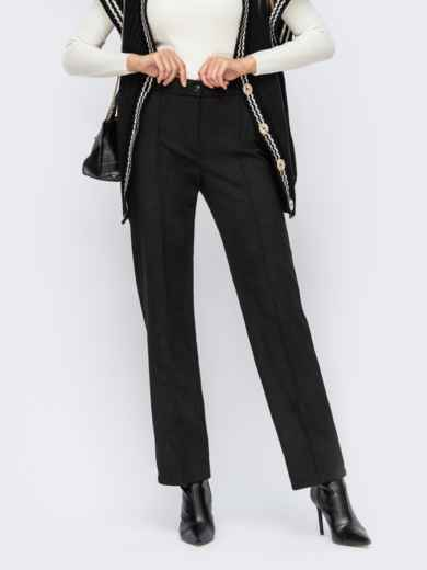 Прямые брюки из замши с высокой талией черные 55263, фото 1