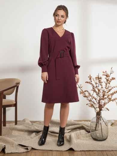 Бордовое платье с расклешенной юбкой - 44205, фото 2 – интернет-магазин Dressa