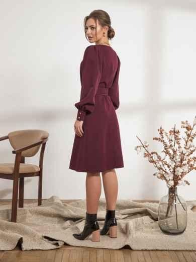 Бордовое платье с расклешенной юбкой - 44205, фото 3 – интернет-магазин Dressa