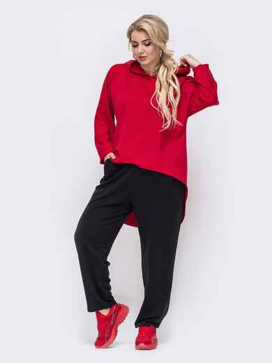 Красный костюм батал из кофты с капюшоном и брюк 50902, фото 1