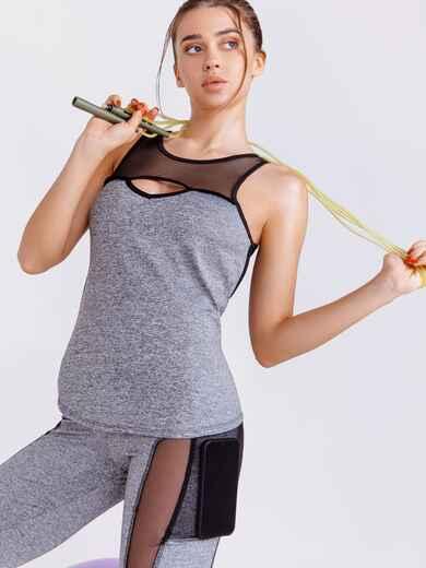 Майка для фитнеса с эластичной сеткой серая 44635, фото 1