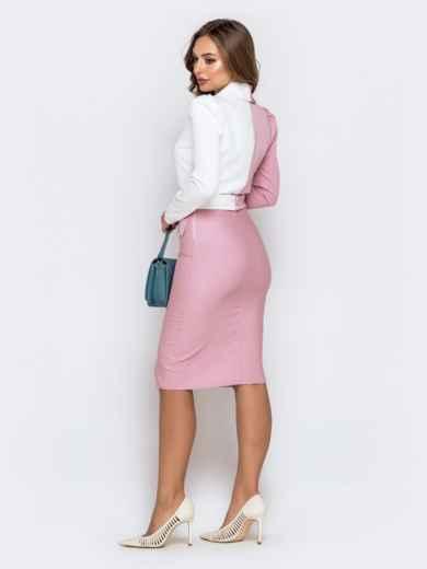 Обтягивающее платье-миди пудрового цвета 40764, фото 3