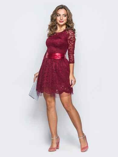 Платье из гипюра с пышной юбкой бордовое - 18150, фото 1 – интернет-магазин Dressa