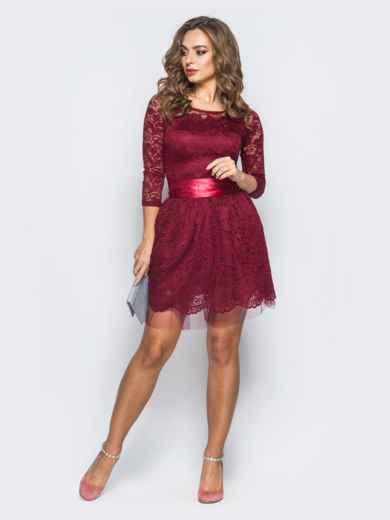 Платье из гипюра с пышной юбкой бордовое - 18150, фото 2 – интернет-магазин Dressa