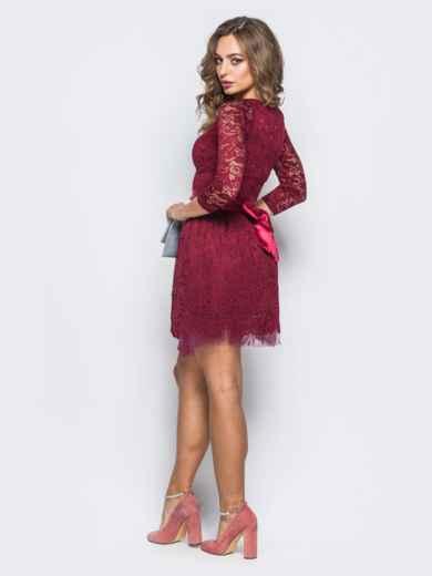 Платье из гипюра с пышной юбкой бордовое - 18150, фото 3 – интернет-магазин Dressa