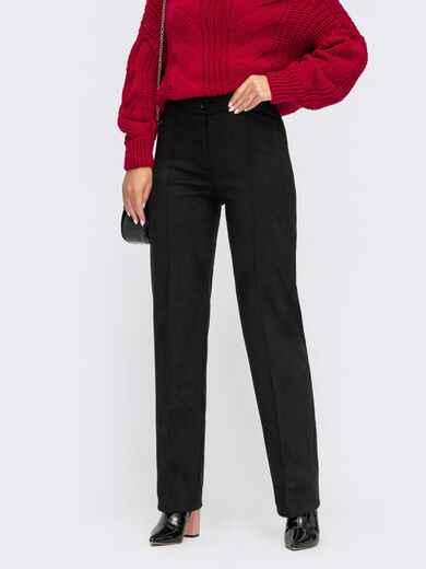 Прямі штани з замші з високою талією чорні 55263, фото 1