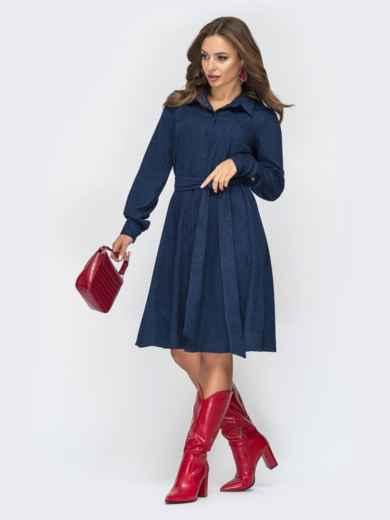 Расклешенное платье из вельвета тёмно-синее 44858, фото 2