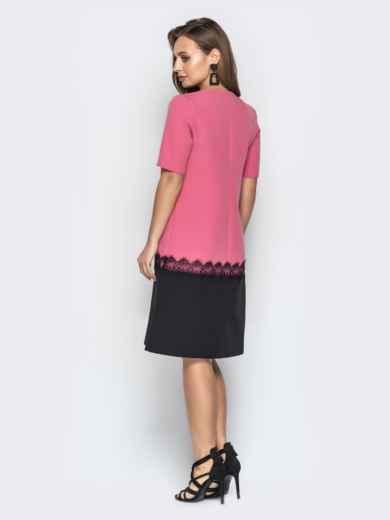 Розовое платье прямого кроя с коротким рукавом - 21033, фото 2 – интернет-магазин Dressa