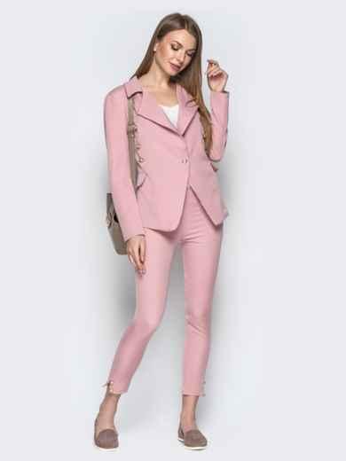 Серый костюм с пуговицами из жакета и брюк-дудочек - 20895, фото 2 – интернет-магазин Dressa