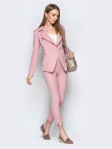Серый костюм с пуговицами из жакета и брюк-дудочек - 20895, фото 3 – интернет-магазин Dressa