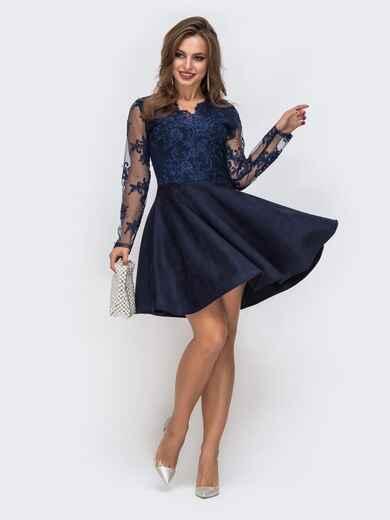 Тёмно-синее платье с юбкой-полусолнце и кружевным верхом 42856, фото 1