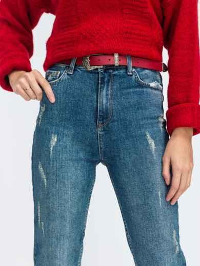 Зауженные джинсы с завышенной талией и поясом голубые - 43104, фото 3 – интернет-магазин Dressa