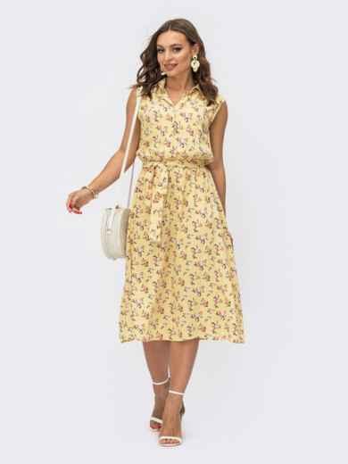 Желтое платье-рубашка в цветочный принт 54084, фото 1