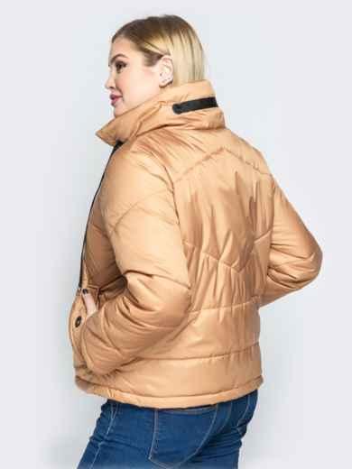 Бежевая куртка на кнопках с воротником-стойкой - 20063, фото 3 – интернет-магазин Dressa