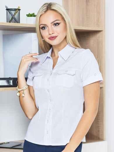 Блузка с клапанами на карманах и короткими рукавами 14189, фото 1