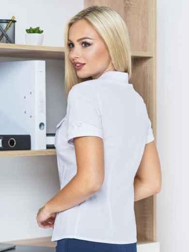 Блузка с клапанами на карманах и короткими рукавами - 14189, фото 2 – интернет-магазин Dressa