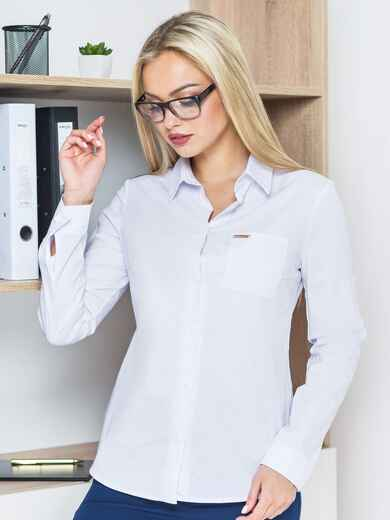 Блузка с украшением на кармане и длинными рукавами - 14190, фото 1 – интернет-магазин Dressa
