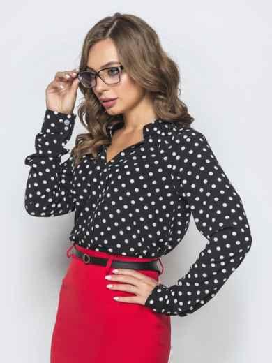 Чёрная блузка в горох с V-вырезом 39846, фото 2