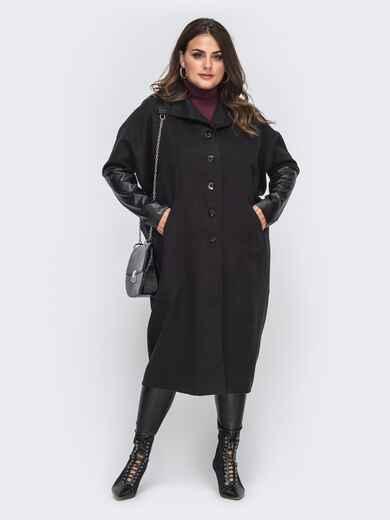 Чёрное пальто большого размера с рукавами из эко-кожи 50995, фото 1