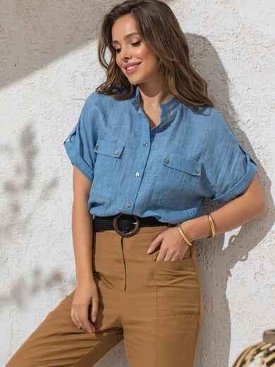 Голубая блузка прямого кроя из хлопка - 49119, фото 1 – интернет-магазин Dressa