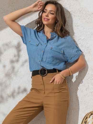 Голубая блузка прямого кроя из хлопка - 49119, фото 2 – интернет-магазин Dressa