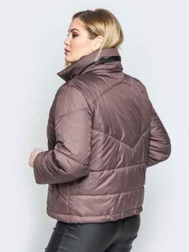 Коричневая куртка на кнопках с воротником-стойкой - 20065, фото 3 – интернет-магазин Dressa
