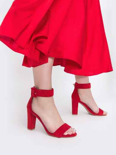 Красные босоножки из искусственной замши на каблуке 45501, фото 1