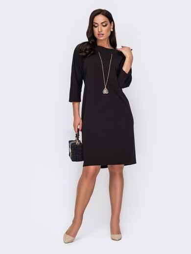 Платье батал приталенного кроя с украшением черное 52120, фото 1