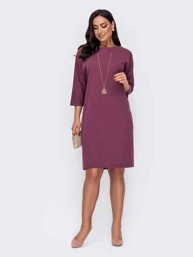 Платье батал приталенного кроя с украшением фиолетовое 52122, фото 1