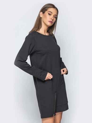 Платье-туника с функциональной молнией снизу черное 15678, фото 1